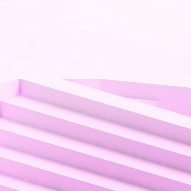 Graphic of pink coloured interwoven steps showing the hashtag Emerge Stronger