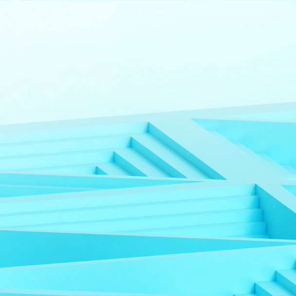 Graphic of turquoise coloured interwoven steps showing the hashtag Emerge Stronger