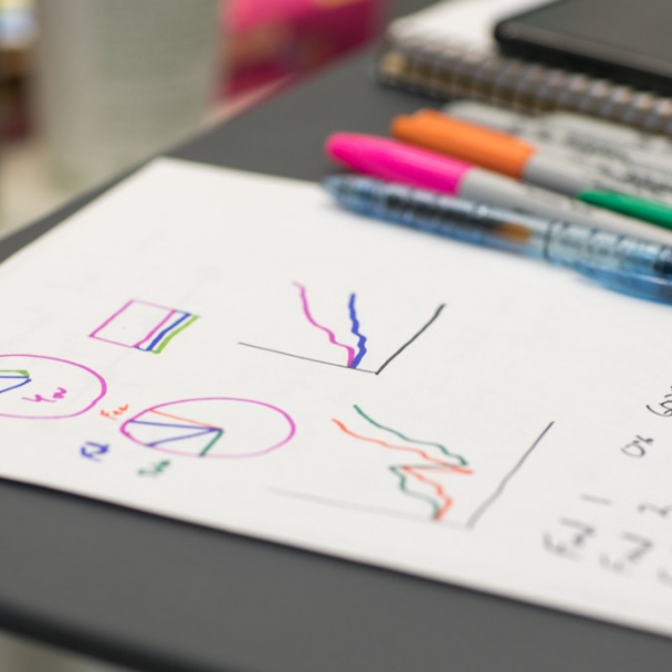 White sheet of paper with hand drawn coloured graphs lying on a desk with pens