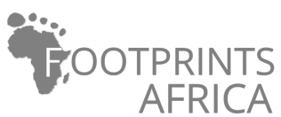 Footprints Africa logo using the outline of Africa in the shape of a footprint